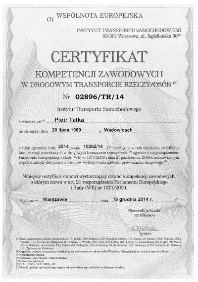 certyfikat kompetencji zawodowych w drogowym transporcie rzeczy