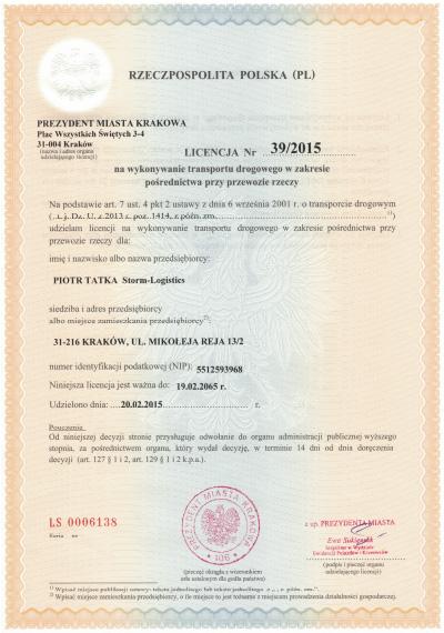 licencja na wykonywanie transportu drogowego